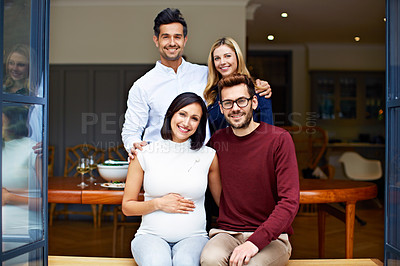 Buy stock photo Portrait of a group of friends sitting on a dining room patio