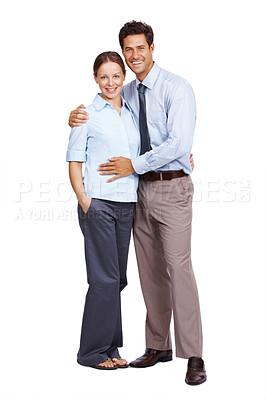 Buy stock photo Portrait of a happy young woman with her husband standing against white background