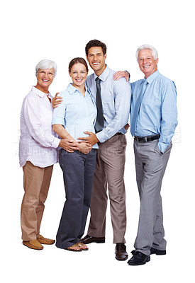 Buy stock photo Portrait of a pregnant female with her family standing against isolated white background