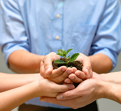 Buy stock photo A cropped image of a hands holding a plant growing in earth