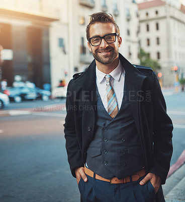 Buy stock photo Shot of a young businessman in the city