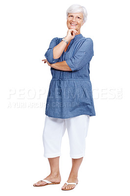 Buy stock photo Portrait of a beautiful mature woman smiling isolated over white background