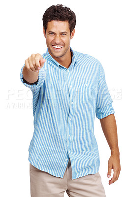 Buy stock photo Portrait of a smiling young man trying to pinch you isolated against white background