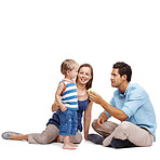 Happy couple spending time with their small kid - Copyspace