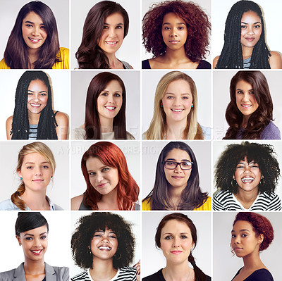 Buy stock photo Composite image of a diverse group of smiling women