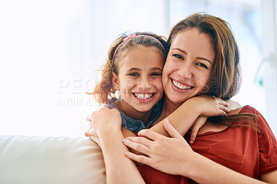 Buy stock photo Portrait of a mother and daughter spending quality time together at home