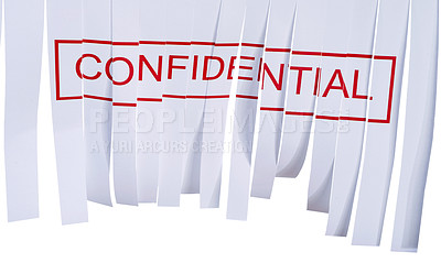 Buy stock photo Studio shot of a partially shredded confidential document against a white background