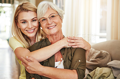Buy stock photo Cropped portrait of a senior woman and her adult daughter at home