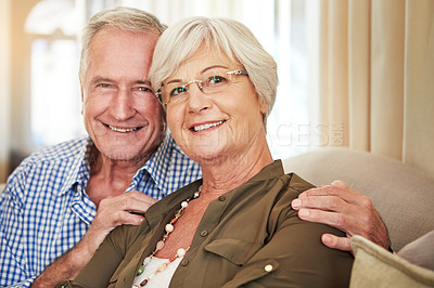 Buy stock photo Cropped portrait of a senior couple at home