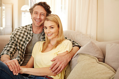 Buy stock photo Cropped portrait of a loving couple at home