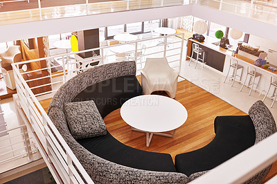 Buy stock photo High angle shot of a break room in an empty office