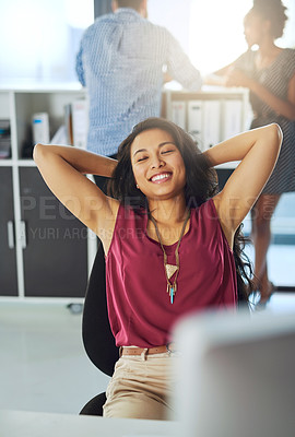 Buy stock photo Cropped shot of a young businesswoman taking a break from work