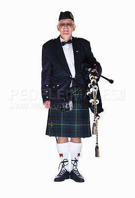 Buy stock photo Full length of a mature highlander with a bagpipes isolated against white background