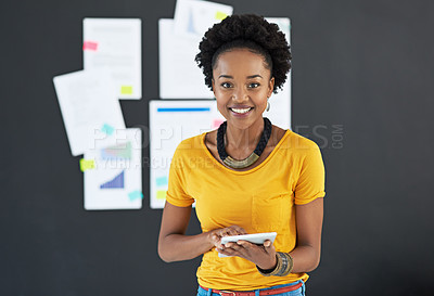 Buy stock photo Cropped shot of a young creative businesswoman in her office