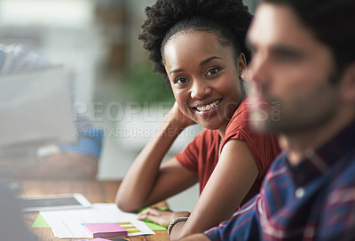 Buy stock photo Cropped shot of a creative businesswoman looking happy at a meeting