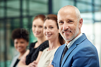Buy stock photo Cropped portrait of a diverse group of businesspeople standing in a line