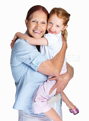 Buy stock photo Portrait of a happy grandmother holding her granddaughter isolated against white