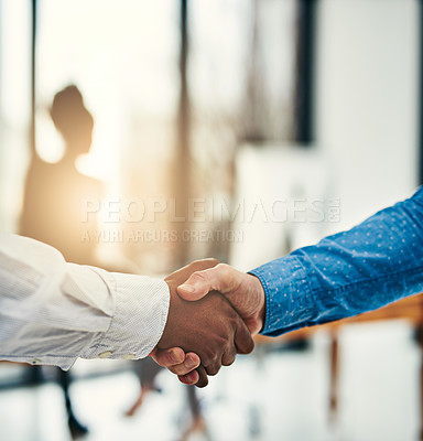 Buy stock photo Closeup shot of businesspeople shaking hands in a office