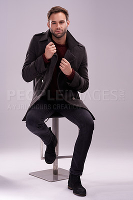 Buy stock photo Full length portrait of a stylish young man posing in the studio