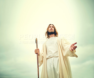 Buy stock photo Shot of Jesus walking alone in the wilderness