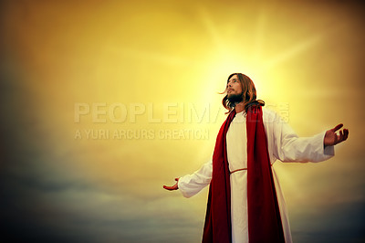 Buy stock photo Shot of Jesus standing outside surrounded by light