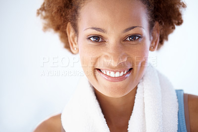 Buy stock photo Closeup portrait of a smiling young african american woman during exercising