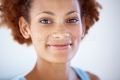 Buy stock photo Closeup portrait of a cute young woman looking happy