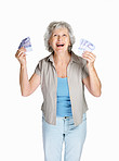 Senior female holding cash in hands on white background