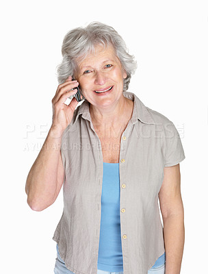Buy stock photo Portrait of a happy mature woman over cell phone isolated against white
