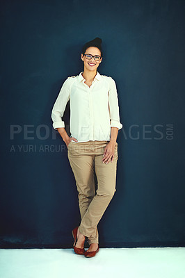Buy stock photo Portrait of an attractive young businesswoman posing in the studio