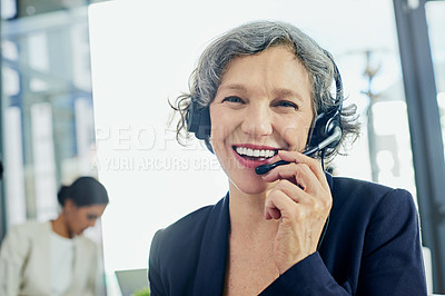 Buy stock photo Portrait of a friendly support agent working in an office