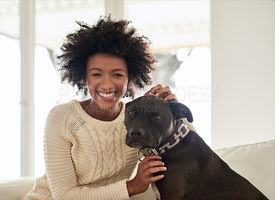 Buy stock photo Portrait of an attractive young woman petting her dog while sitting on the sofa at home