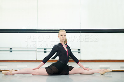 Buy stock photo Portrait of a young woman practising ballet