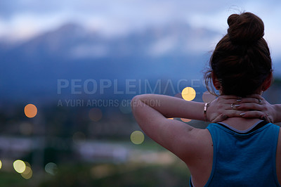 Buy stock photo Rearview shot of a young runner standing outdoors