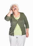 Laughing mature woman over cell phone isolated against white