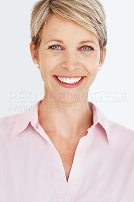 Buy stock photo Portrait of a confident happy mature businesswoman at office