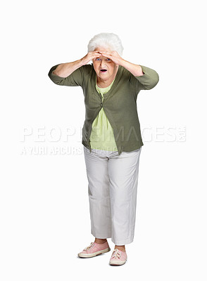 Buy stock photo Full length of a surprise senior woman shielding her eyes isolated against white