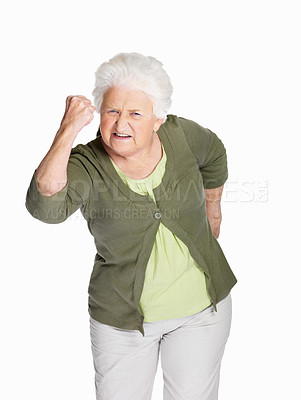 Buy stock photo Portrait of a senior woman in angry gesture isolated against white
