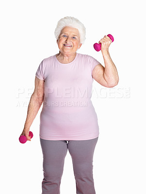 Buy stock photo Portrait of a happy senior woman lifting dumbbells isolated against white