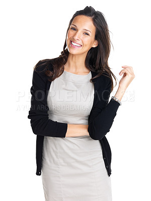 Buy stock photo Beautiful casual young woman standing isolated against white background