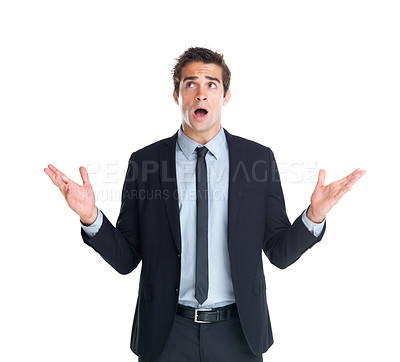 Buy stock photo Young businessman with surprise expression on his face isolated on white background