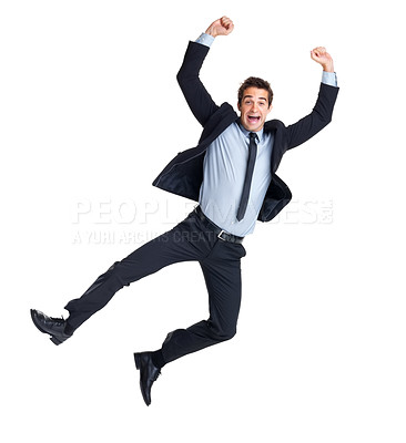 Buy stock photo Celebrating success - Portrait of a excited male business executive jumping in air against isolated white background