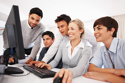 Buy stock photo Group of business people preparing presentation on computer