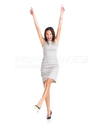 Buy stock photo Portrait of an excited young businesswoman rejoicing success with hands raised