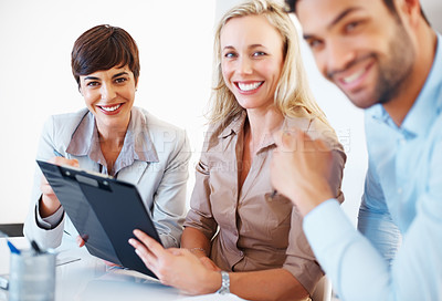 Buy stock photo Portrait of business team smiling during meeting