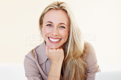 Buy stock photo Portrait of beautiful female executive smiling with hand on chin