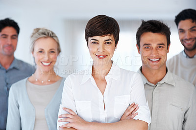 Buy stock photo Confident business woman with her supporting team