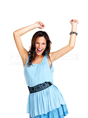 Buy stock photo Portrait of beautiful young woman dancing against white background