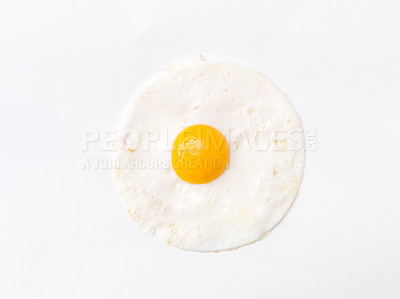 Buy stock photo Diet and nutrition concept - Cooked egg isolated on white background