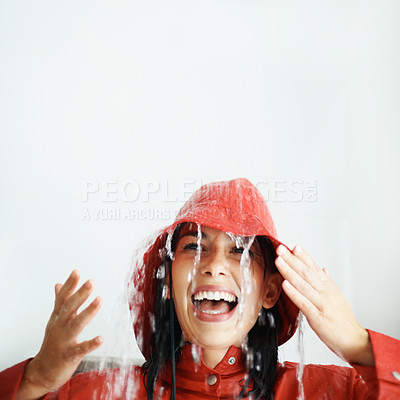 Buy stock photo Woman getting rained on indoors